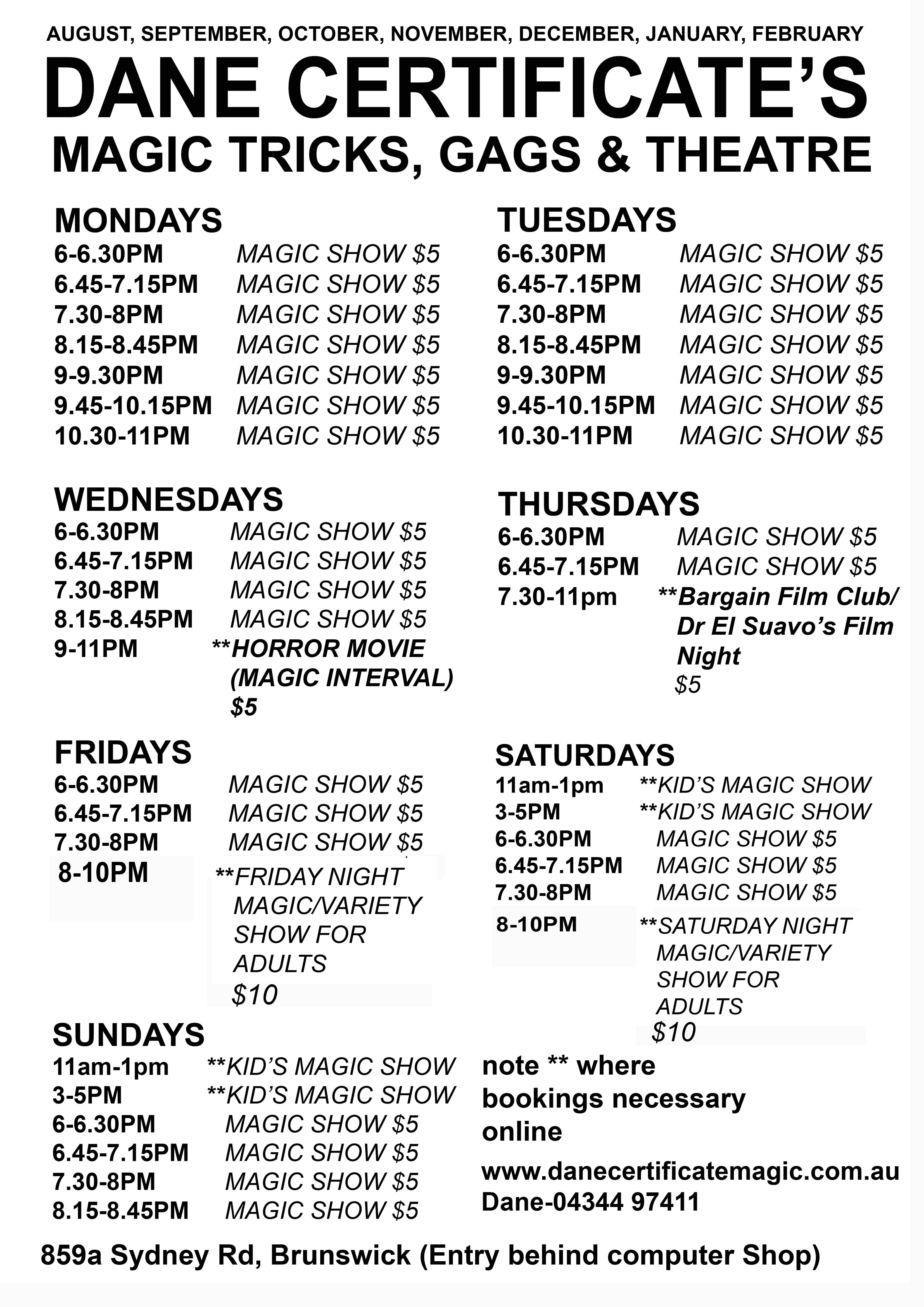 Calander Dane Certificates Magic Tricks Gags Theatre